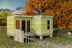 Modular house on a green field. 3d illustration of a modular house on a green field Royalty Free Stock Images