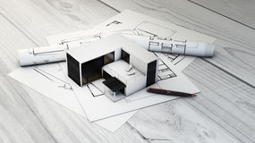 Modular house and plots Royalty Free Stock Photo