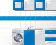 Modular Kitchen in Blue and Silver Stock Photos
