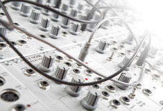 Modular synth. Closeup of an analog modulare synthesyzer in a recording studio Stock Image