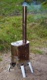 Modular wood-burning stove for tourism Stock Photo