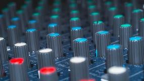 Modularnych syntetyków kolorowych guzików audio melanżer, muzyczny wyposażenie studio nagrań przekładnie, transmituje narzędzia,  Zdjęcie Royalty Free
