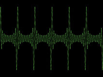 Modulated sine wave. Green modulated sine wave on black copyspace Royalty Free Stock Photos