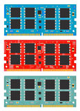 Module computer memory. ( RAM ) in 3 colors: blue, red and green on white background Stock Image