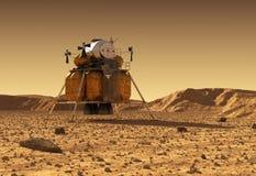 Module de descente de station spatiale interplanétaire sur la surface de la planète Mars illustration libre de droits