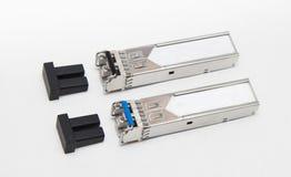 Modules optiques du gigabit SFP pour le commutateur de réseau Photo stock