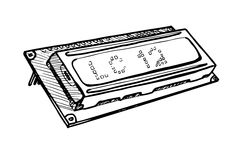 Modulo dell'esposizione dell'affissione a cristalli liquidi isolato su fondo bianco Illustrazione di vettore in uno stile di schi Fotografie Stock