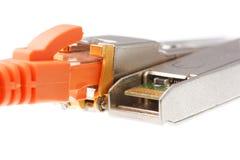 Modulo della rete di due SFP con iack arancio RJ45 Immagine Stock