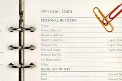 Modulo di dati personale Immagini Stock