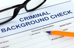 Modulo di domanda criminale della verifica degli antecedenti Fotografie Stock Libere da Diritti