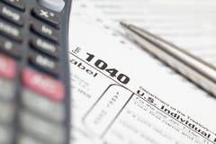 Modulo di imposta 1040 Fotografia Stock