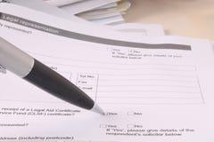 Modulo legale di lavoro di ufficio Immagini Stock Libere da Diritti