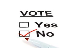 Modulo sì/no della scheda elettorale di voto senza controllato fotografia stock