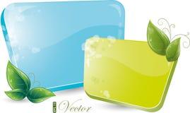 Modulo verde e blu con i fogli Fotografia Stock Libera da Diritti