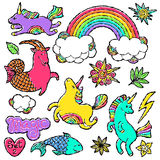 Mody łaty odznaki elementy w kreskówki 80s-90s komiczce projektują Ustalony nowożytny trendu doodle wystrzału sztuki nakreślenie Fotografia Royalty Free