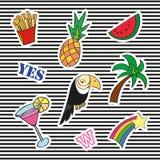 Mody łaty odznaki z różnymi elementami Set majchery, szpilki, łaty i ręcznie pisany notatki inkasowi w kreskówce, Obraz Stock