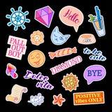 Mody łaty odznaki z różnymi elementami Set majchery, szpilki, łaty i ręcznie pisany notatki inkasowi w kreskówce, Zdjęcia Stock
