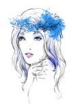 Mody akwareli ilustracja kobieta Wiosna czas… wzrastał liście, naturalny tło Zdjęcia Royalty Free