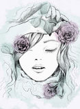 Mody akwareli ilustracja kobieta Wiosna czas… wzrastał liście, naturalny tło Obrazy Royalty Free