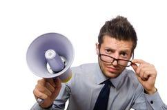 Młody biznesmen z głośnikiem Fotografia Stock