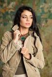 Mody brunetki kobiety portret Brunetka włosy model Obraz Stock