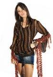 Mody brunetki modela kobiety włoszczyzny styl na bielu Zdjęcia Royalty Free