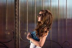 Mody brunetki seksowna dziewczyna jest ubranym okulary przeciwsłonecznych profilowy portret dziewczyna w okularach przeciwsłonecz Fotografia Stock