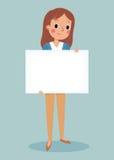 Młody brunett dziewczyny mienia pustego miejsca znak Fotografia Royalty Free