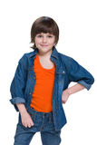 Mody chłopiec w cajgu kostiumu fotografia royalty free
