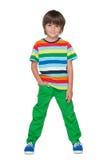 Mody chłopiec w pasiastej koszula obrazy royalty free