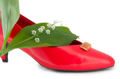 mody czerwieni but zdjęcia royalty free