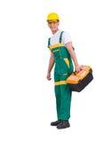 Młody człowiek z toolkit toolbox odizolowywającym na bielu Fotografia Royalty Free