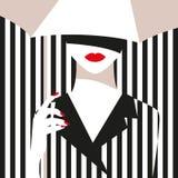 Mody dziewczyna z parasolem Śmiały, minimalny styl, Wystrzał sztuka OpArt, pozytywna negatyw przestrzeń i colour, Modni paski ilustracji