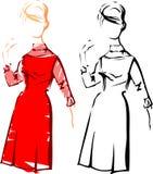 mody dziewczyny retro nakreśleń wektor Fotografia Royalty Free