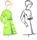 mody dziewczyny retro nakreśleń wektor Zdjęcie Stock