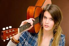 mody gitary mienia muzyka skały kobieta Zdjęcie Stock