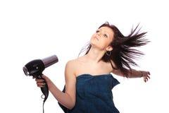 mody hairdryer fryzury mienia kobieta obrazy royalty free