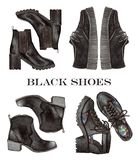 Mody ilustracja akwareli czerni buty ustawiający royalty ilustracja