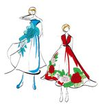 Mody ilustracja Eleganccy moda modele fashion girl ilustracja wektor
