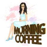 Mody ilustracja Piękna młoda kobieta z filiżanką kawy Fotografia Stock