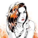 Mody ilustracja, portret pi?kna kobieta royalty ilustracja