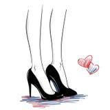 Mody ilustracja z kobietą iść na piechotę będący ubranym szpilki buty Zdjęcia Stock