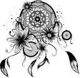 Mody ilustracja z wymarzonym łapaczem i kwiatami Ręka rysujący projekt ilustracji