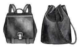 Mody ilustracyjny ustawiający dwa czarny plecak Obrazy Royalty Free