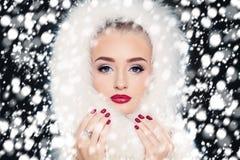 Mody kobieta na opad śniegu zimie Obraz Stock