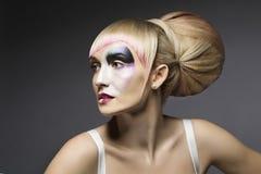 Mody kobieta Uzupełniał, Artystyczna Wzorcowa dziewczyny Makeup twarz obraz stock