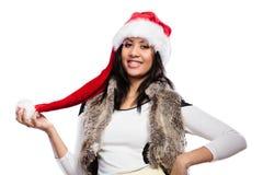 Mody kobieta w Santa pomagiera kapeluszu Obraz Stock