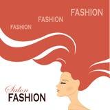 Mody kobieta z Długie Włosy również zwrócić corel ilustracji wektora fotografia royalty free