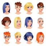 Mody kobiety avatars Obrazy Stock