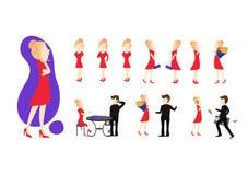 Mody kobiety charaktery z biznesowym pracownika wektorem, dużego szefa dziewczyny pojęciem z jej styl życia i różną posturą, ilustracji